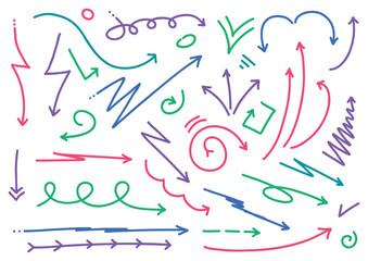 arrows hand-drawn set vector