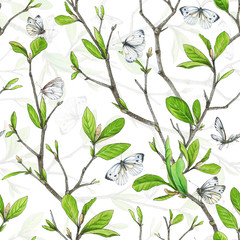 Seamless pattern, weave branches with green foliage and white butterflies.. Illustration by markers, beautiful floral composition on a white background.