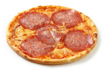 Salami pizza on a white background
