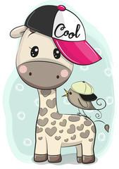 Cute Cartoon Giraffe in a cap with a bird