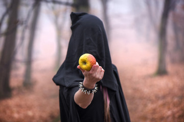 Girl in black hood offers an poisoned, delicious apple. Thick fog all around. Scary, colorful autumn scene