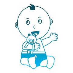 baby boy with diaper and bear teddy in hand vector illustration design