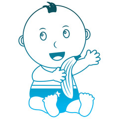 baby boy with diaper and fruit banana vector illustration design