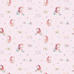 Cute watercolor unicorn seamless pattern with flowers. Nursery magic unicorn patterns. Princess rainbow texture. Trendy pink cartoon pony horse.
