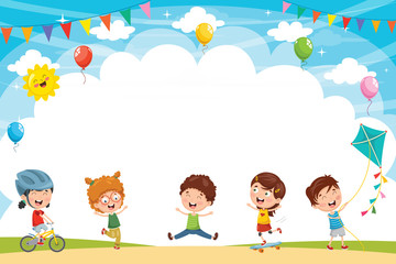 Vector Illustration Of Kids Playing Outside