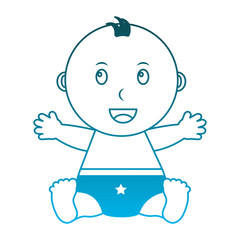baby boy with diaper isolated icon vector illustration design
