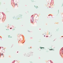 Cute watercolor unicorn seamless pattern with flowers. Nursery magic unicorn patterns. Princess rainbow texture. Trendy pink cartoon pony horse.
