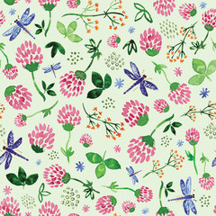 Seamless pattern with watercolor clovers, wild flowers and dragonflies on light green background
