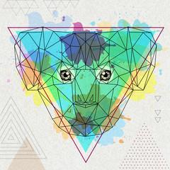 Hipster polygonal animal koala on artistic watercolor background