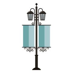 street lamps vintage pennants image vector illustration