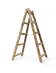 Old wooden ladder isolated on white, including clipping path