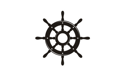 Steering Wheel Captain Boat Ship Yacht Compass Transport logo design inspiration