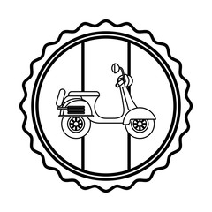 vintage label flag french and red scooter vector illustration outline