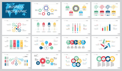 Colorful strategy infographic charts set