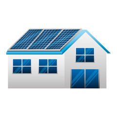 house with panels solar ecology energy vector illustration design