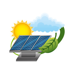 panels solar with leaf and sun ecology energy vector illustration design