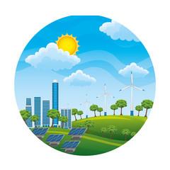 landscape with turbines energy power vector illustration design