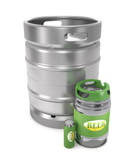 Beer kegs and can (3d illustration).