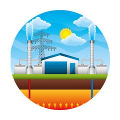 electric towers energy over landscape vector illustration design