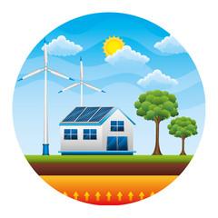 house with panels solar over landscape ecology energy vector illustration design