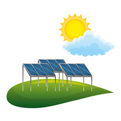 field with panels solar ecology energy vector illustration design