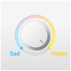Emotional background with sad and happy switch control knob , vector , illustration