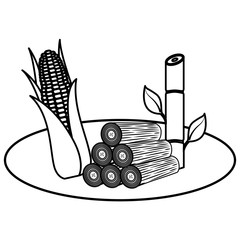 wooden trunks with sugar cane and corn vector illustration design