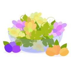Спелые фрукты в синей вазе