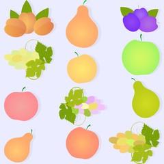 Фрукты, виноград, яблоки, груши, абрикосы, сливы