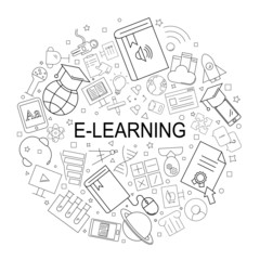 Vector e-learning pattern with word. E-learning background