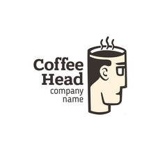 Logo of a head with a cup of coffee