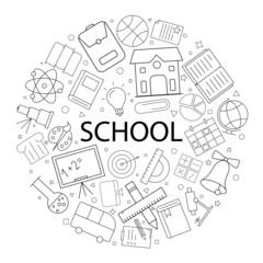 Vector school pattern with word. School background