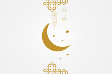 Ramadan kareem greeting card template. Islamic crescent moon, ramadan lamp or lanterns and muslim pattern element.