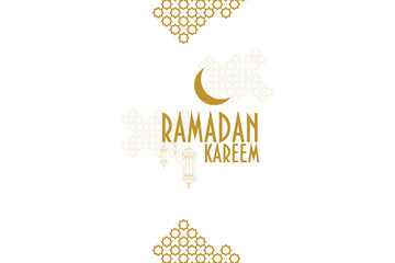 Ramadan kareem monochrome vector greeting card template. Muslim crescent moon, ramadan lanterns and muslim pattern element.