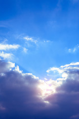 Amazing sky with charming gentle clouds and orange sunshine