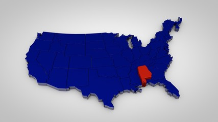 usa map with alabama map highlited 3d render
