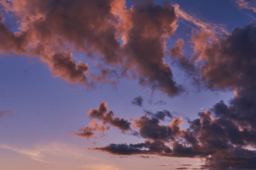 Sky at sunset with purple orange and blue hues