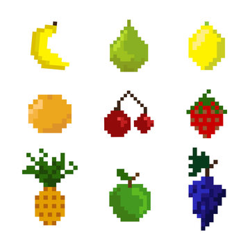 Pixel fruits on a white background. Collection of fruits for game or other. Cute summer ingredients for smoothie.