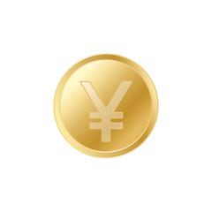Golden Japanese Yen coin. Realistic lifelike gold Yen coin.