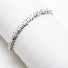 Silver and Diamond Tennis Bracelet