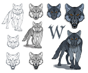 Wolf Head Symbol. Great for Badge Label Sign Icon Logo Design. Quality Wolf Emblem. Premium Retro Style Drawing. Hand crafted Vector illustration. Authentic Vintage Graphics.