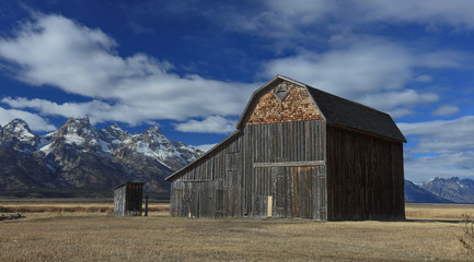Historical Barn at the Antelope flats road Teton National Park Wyoming USA