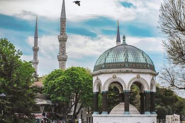German fountain in Sultanahmet in Istanbul, Turkey. German Fountain - a gift of the German Kaiser Wilhelm II. Installed in Istanbul in 1900