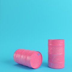 Pink oil barrel on bright blue background in pastel colors