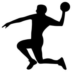 Handball player in attack