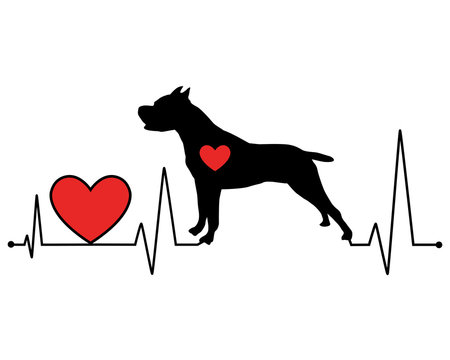 Pit Bull silhouette heartbeat line vector illustration