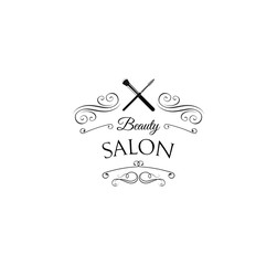 Beauty Salon Badge. Makeup Brushes Label  Isolated on White