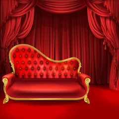 Theater vector concept, realistic luxurious red velvet sofa with golden carved legs with scarlet curtains, scene as background. Gilded antique royal couch. Interior illustration for presentation, show