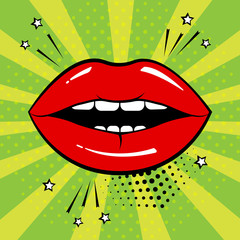 Red lips on green background in pop art style. Vector illustration