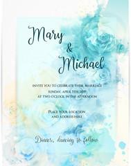 Floral invitation wedding template.